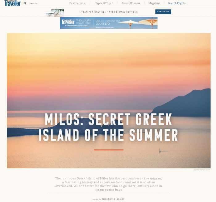Conde Nast Traveller magazine article about Milos