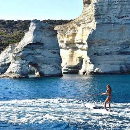 Wakeboarding at Kleftiko cliffs on Milos