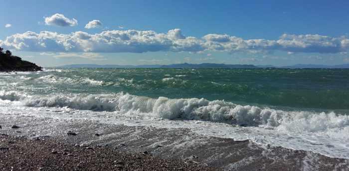 Glyfada beach view of Saronic Gulf