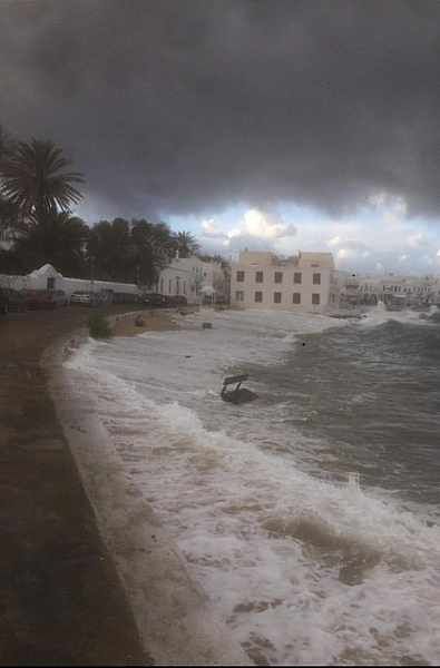 Agia Anna beach during storm at Mykonos