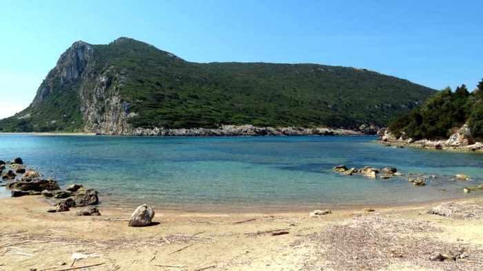 Ntivari beach and Sfaktiria Island