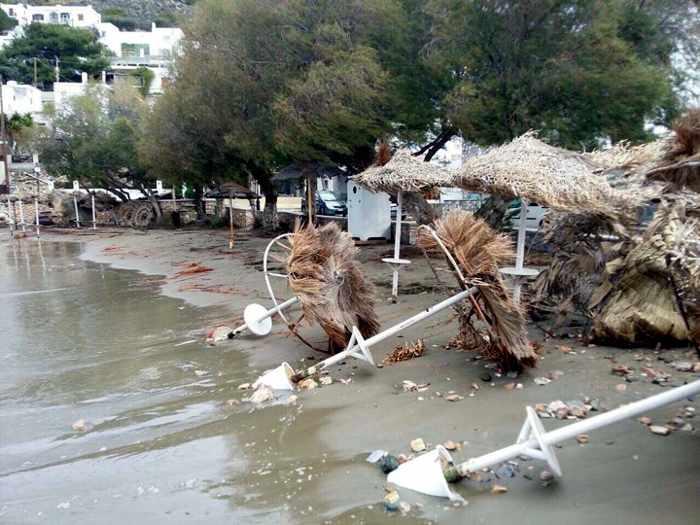 Kini beach Syros storm damage