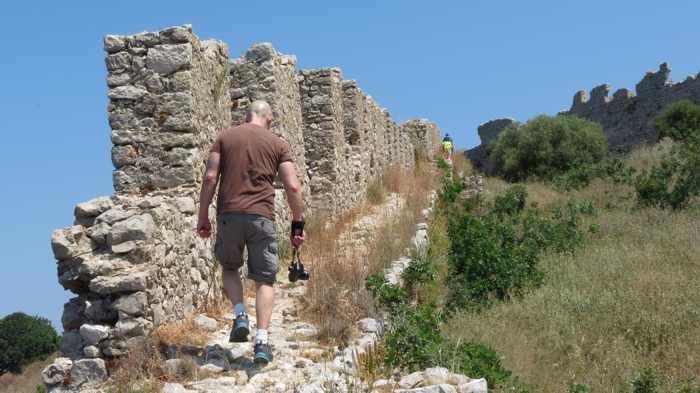 walking the wall at Castle of Navarino
