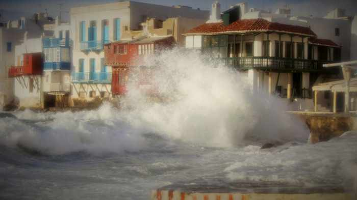 Little Venice Mykonos during January storm