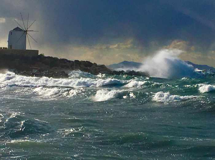 Paros photo by Waves on the seafront at Parikia on Paros photo shared on Facebook by ΠΑΡΟΣ like Facebook page