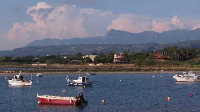 boats in a bay at Marathopoli