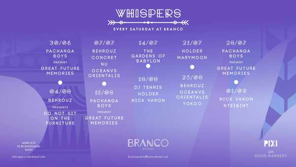Branco Mykonos Whispers events