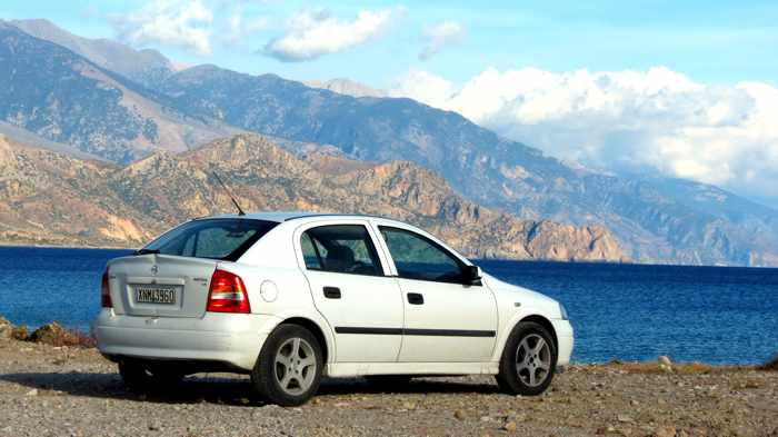 car on the coast of Crete