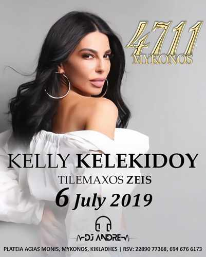 Promotional advertisement for Kelly Kelekidou live show at 4711 nightclub Mykonos