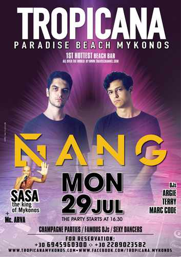 Promotional ad for the DJ ANG show at Tropicana Mykonos July 29