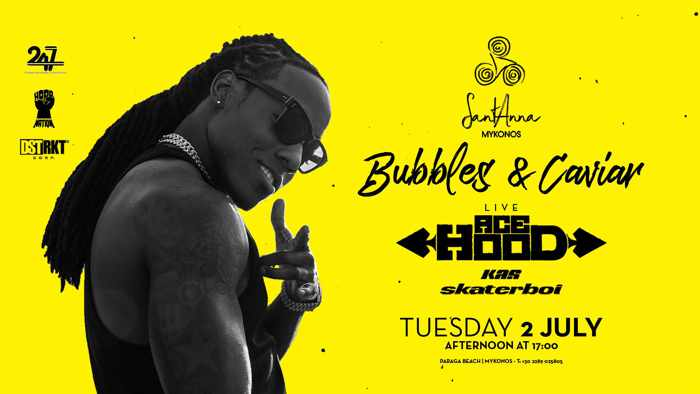 Promotional image for Ace Hood live show at SantAnna Mykonos on July 2