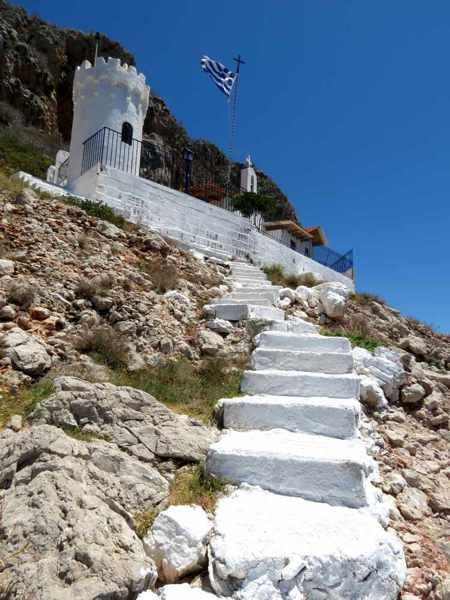 Greece, Peloponnese, Karathona, path, trail, coast, church path, Agios Nikolaos Church, Agios Nikolaos Church at Karathona, steps, stairs, coast, hill,
