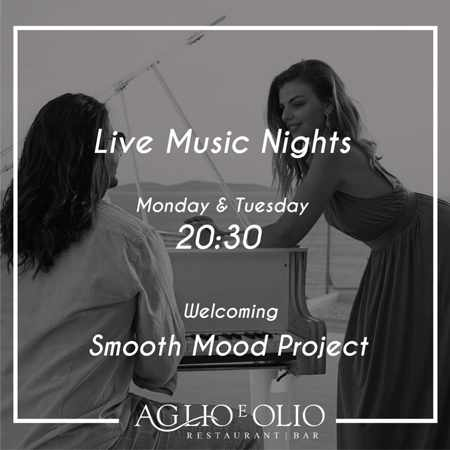 Advertisement for live music nights at Aglio e Olio Restaurant in Mykonos during summer 2019