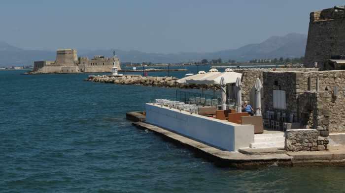 Greece, Peloponnese, Argolida, Nafplio, waterfront, seaside, restaurant, Agnanti restaurant Nafplio, taverna, Bourtzi castle, coast,