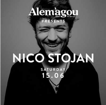 Promotional image for Nico Stojan DJ appearance at Alemagou club on Mykonos