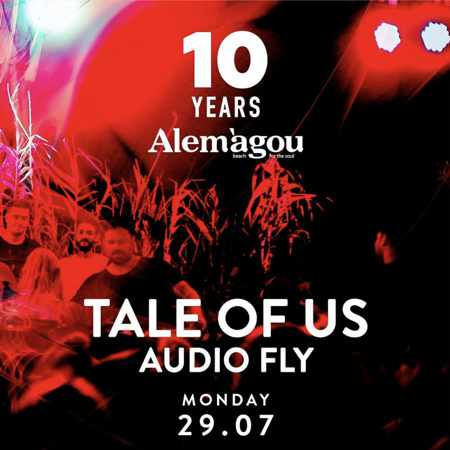 Alemagou beach club Mykonos 10th anniversary party with music by Tale of Us and Audiofly on Monday July 29