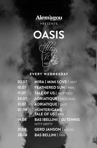 Promotional image for the Wednesday Oasis music series at Alegamou Mykonos during July and August 2019