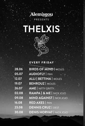 Promotional image for the Friday Thelxis music events at Alemagou Mykonos during summer 2019