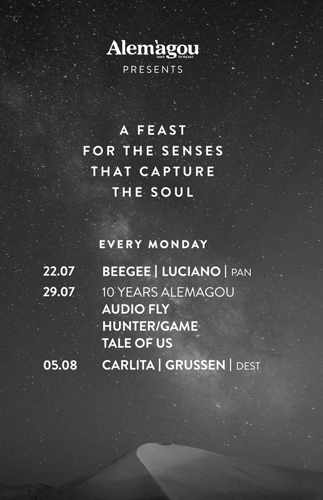 Schedule of special Monday music events at Alemagou Mykonos during July and August 2019
