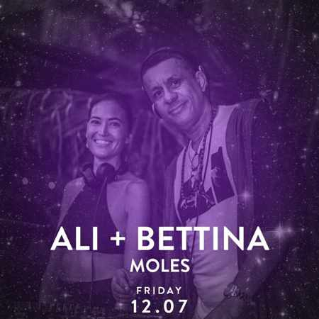 Promotional image advertising the Alemagou Mykonos beach party featuring Ali + Bettina on July 12
