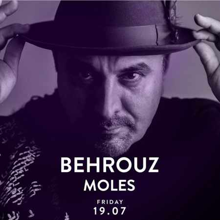 Promotional ad for the Alemagou beach club Mykonos party featuring DJ Behrouz