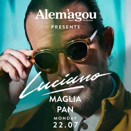 Alemagou beach club Mykonos presents Luciano Maglia & Pan on Monday July 22