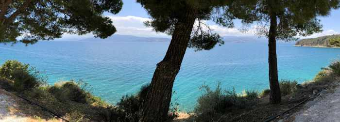 Greece, Peloponnese, Nafplio, Karathona, Karathona path, Argolic Gulf, trees, sea, coast