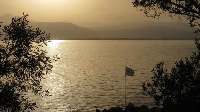 Greece, Peloponnese, Argolida, Nafplio, Arvanitia promenade, coast, sea, Argolic Gulf, sunset,