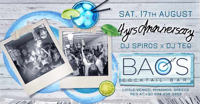 Baos Cocktail Bar Mykonos 4th anniversary party on Saturday August 17