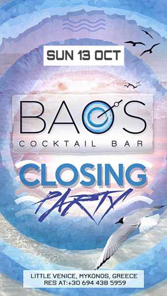 Baos Cocktail Bar Mykonos October 13 2019 closing party announcement