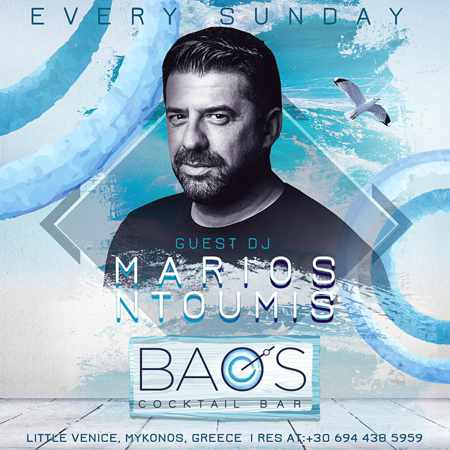 Promotional ad for the weekly Sunday Experience Parties at Baos Cocktail Bar Mykonos