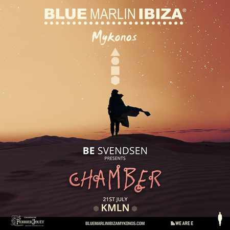 Promotional ad for the Be Svendsen Chamber event at Blue Marlin Ibiza Mykonos