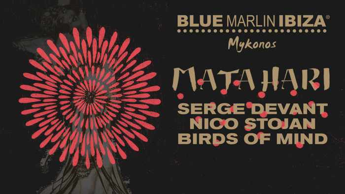 Promotional image for the Blue Marlin Ibiza Mykonos July 2 Matahari event