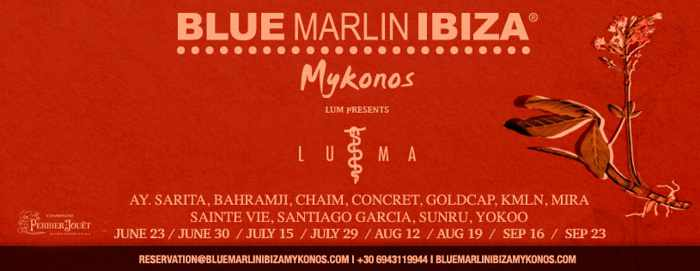 Promotional ad for the Blue Marlin Ibiza Mykonos LUMA by LUM events summer 2019