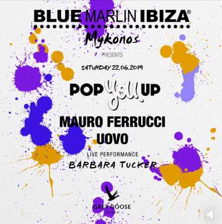 Promotional image for the Blue Marlin Ibiza Mykonos Pop U Up party June 22