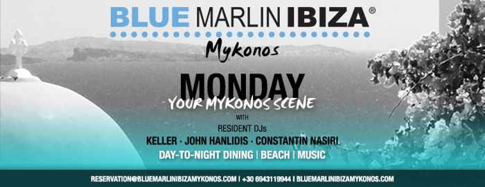Promotional image for Monday June 17 DJ lineup at Blue Marlin Ibiza Mykonos beach club