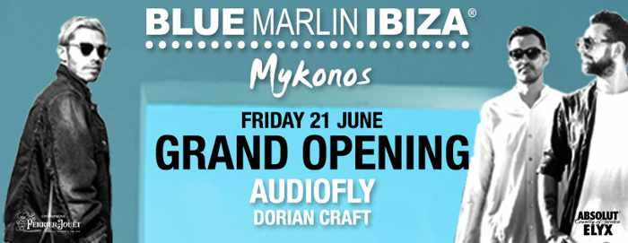 Grand opening announcement for the new Blue Marlin Ibiza club in Mykonos