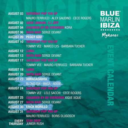 Blue Marlin Ibiza Mykonos calendar of party events for August 2019