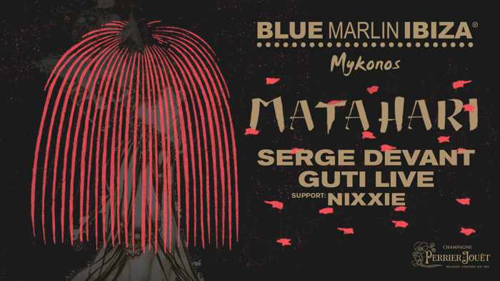 Promotional image for the Blue Marlin Ibiza Mykonos Matahari event with Serge Devant and Guti on June 25