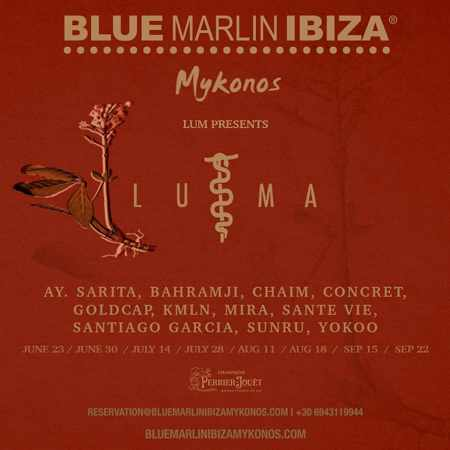 Promotional image for the Luma series of music events at Blue Marlin Ibiza club on Mykonos during summer 2019