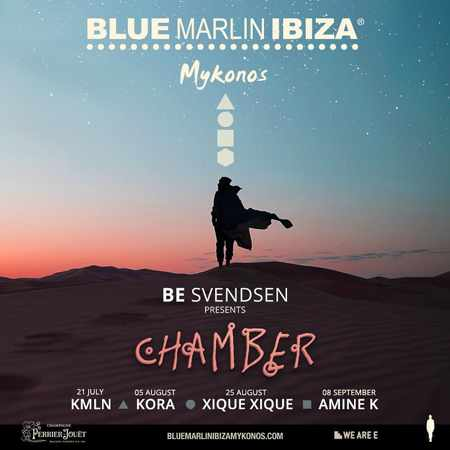 Promotional image for the 2019 Chamber series of events at Blue Marlin Ibiza Mykonos during summer 2019