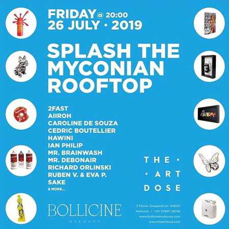 Promotional ad for the Bollicine Mykonos Splash the Myconian Rooftop event July 26