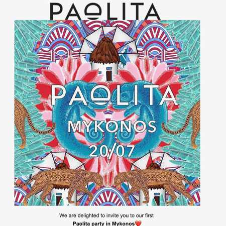 Promotional ad for the Paolita Party at Bollicine Mykonos on July 20