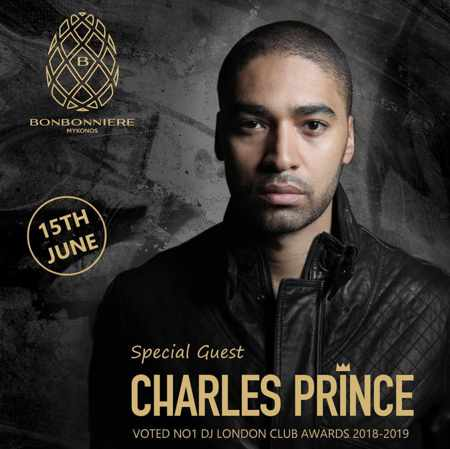 Promotional image for DJ Charles Prince show at Bonbonniere club Mykonos