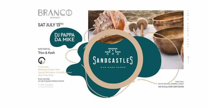 Branco Mykonos SandCastles party on Saturday July 13