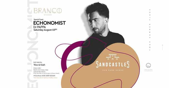 Branco Mykonos SandCastles party with Echonomist on Saturday August 3