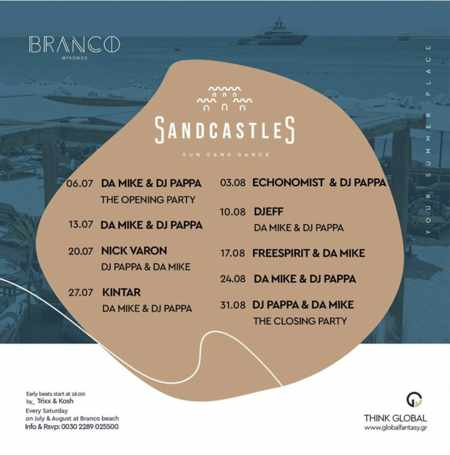 Branco Mykonos calendar of SandCastles party events on Saturdays during summer 2019