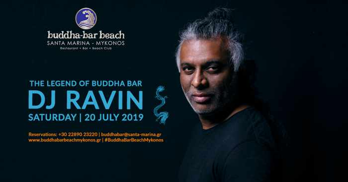 Promotional ad for DJ Ravin show at Buddha-bar Beach Mykonos on July 20