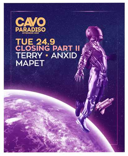 Promotional ad for the Cavo Paradiso Mykonos 2019 season closing party on September 24