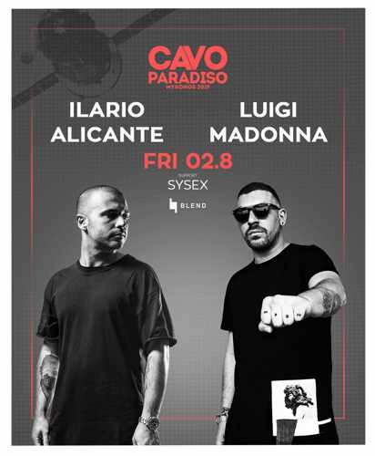 Promotional ad for the Cavo Paradiso Mykonos August 2 event featuring Ilario Alicante & Luigi Madonna
